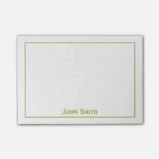 Personalize: Framed Modern Minimal Gold & White Post-it® Notes