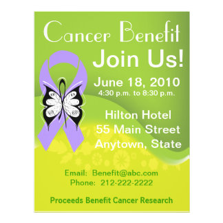Personalize General Cancer Fundraising Benefit 21.5 Cm X 28 Cm Flyer