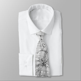 Personalize:  Hand Drawn Pencil Doodle Art Tie