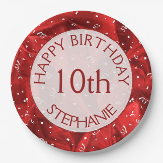"""Personalize: """"Happy Birthday"""" Red Textured Paper Plate"""