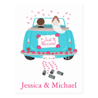 Personalize Just Married Blue Wedding Announcement Postcard