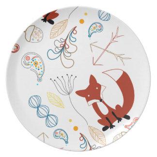 Personalize Modern Fox  Woodland Pattern Plate