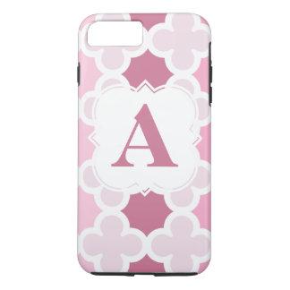 Personalize Monogram Retro Pink Quatrefoil Pattern iPhone 8 Plus/7 Plus Case