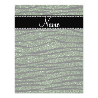 Personalize name forest green glitter zebra stripe full color flyer