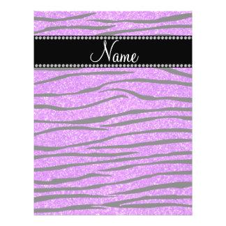 Personalize name neon purple glitter zebra stripes 21.5 cm x 28 cm flyer