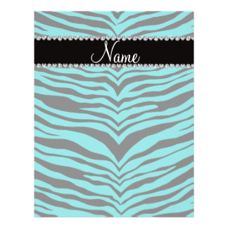 Personalize name turquoise tiger stripes full color flyer