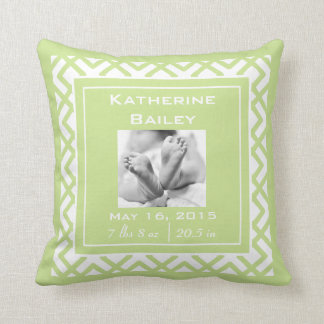 Personalize Nursery Baby Announcement, Lime Green Cushion