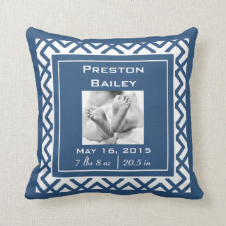 Personalize Nursery Baby Announcement, Navy Blue Cushion
