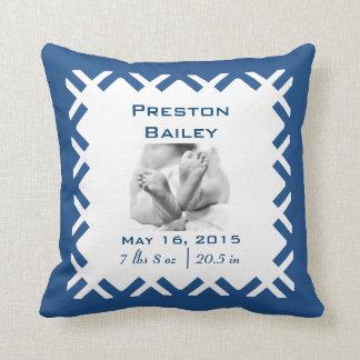 Personalize Nursery Birth Announcement, Blue Cushion