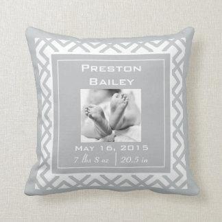 Personalize Nursery Birth Announcement, Gray Cushion