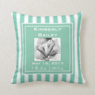 Personalize Nursery Birth Announcement, Mint Cushion