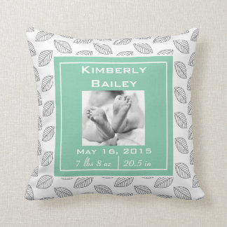 Personalize Nursery Birth Announcement, Mint Green Cushion