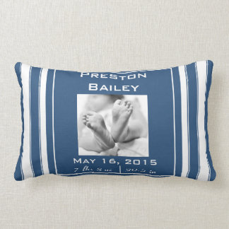 Personalize Nursery Birth Announcement, Navy Blue Lumbar Cushion