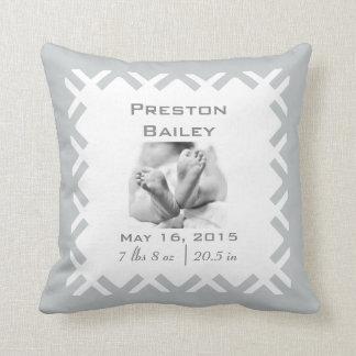 Personalize Nursery Birth Announcement, Neutral Cushion
