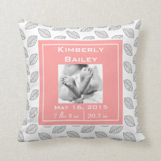 Personalize Nursery Birth Announcement, Pink Coral Cushion