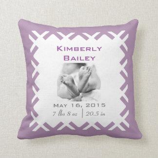Personalize Nursery Birth Announcement, Purple Cushion