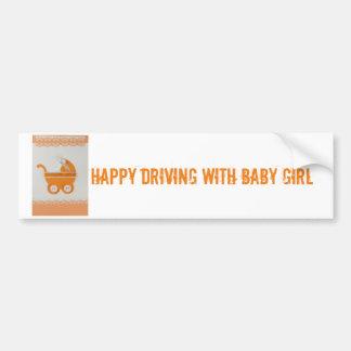 Personalize Orange baby carriage Bumper Sticker