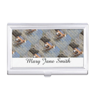 Personalize pet photo business company business card holder