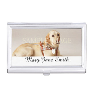 Personalize pet photo name business card holders