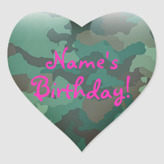 Personalize Pink on Camo Heart Sticker