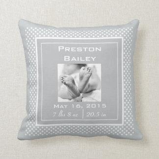 Personalize Polka Dots Nursery Birth Announcement Cushion
