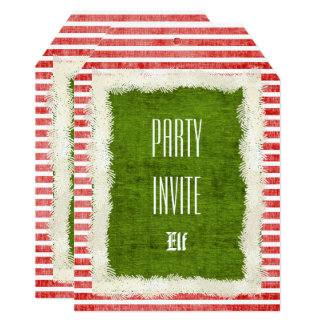 Personalize:  Red/Green Elf Christmas Party Theme Card