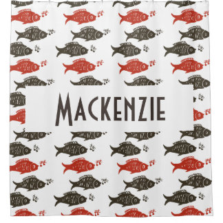 Personalize Singing Fish Red Grey Shower Curtain