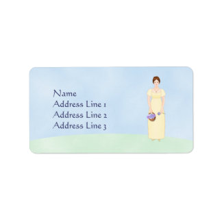 Personalize this Jane Austen Style Regency Girl Label