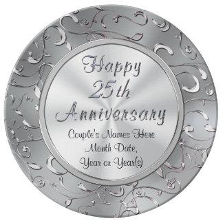 Personalized 25th Anniversary Plate, Porcelain Porcelain Plate