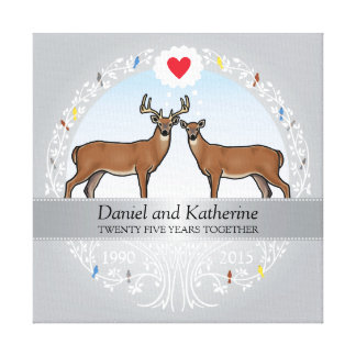 Personalized 25th Wedding Anniversary, Buck & Doe Canvas Print
