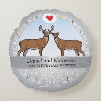 Personalized 25th Wedding Anniversary, Buck & Doe Round Cushion