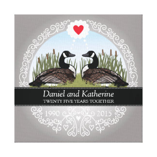 Personalized 25th Wedding Anniversary, Geese Canvas Print