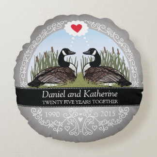 Personalized 25th Wedding Anniversary, Geese Round Cushion