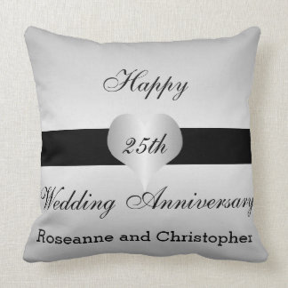 Personalized 25th Wedding Anniversary Silver Heart Throw Pillow