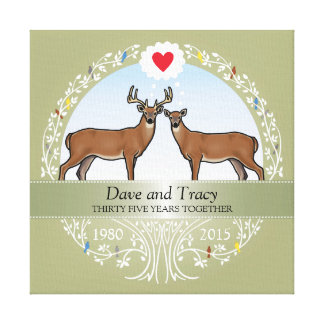 Personalized 35th Wedding Anniversary, Buck & Doe Canvas Print
