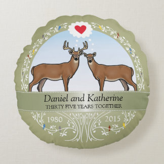 Personalized 35th Wedding Anniversary, Buck & Doe Round Cushion