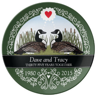 Personalized 35th Wedding Anniversary, Geese Porcelain Plates