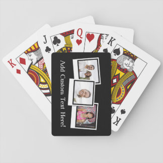 Personalized 3-Photo Snapshot Frames Custom Color Playing Cards