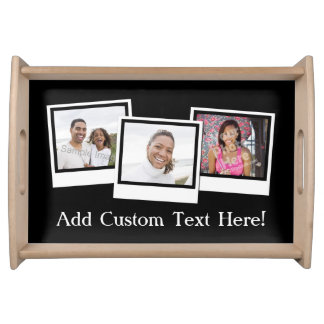 Personalized 3-Photo Snapshot Frames Custom Color Serving Tray
