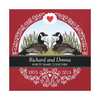 Personalized 40th Wedding Anniversary, Geese Canvas Print