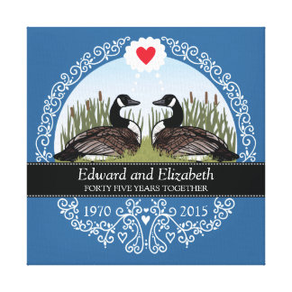 Personalized 45th Wedding Anniversary, Geese Canvas Print
