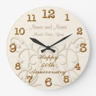 Personalized 50th Anniversary Gifts for Parents Wall Clocks