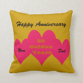 Personalized 50th Anniversary Love Heart Pillow