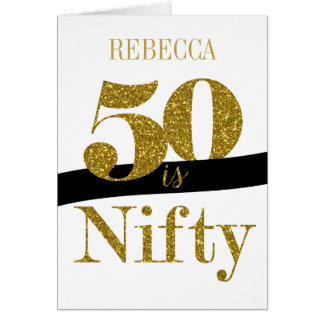 Personalized 50th Birthday Card in Gold Glitter