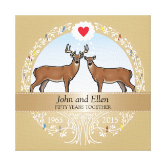 Personalized 50th Wedding Anniversary, Buck & Doe Canvas Print