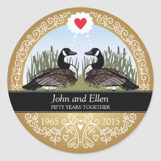 Personalized 50th Wedding Anniversary, Geese Classic Round Sticker