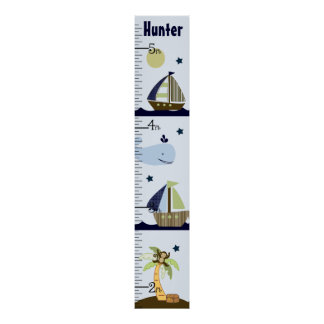 Personalized Ahoy Mate/Sailboat/Whale Growth Chart Poster