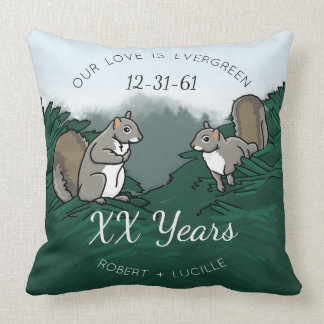Personalized Anniversary Evergreen Love Squirrels Throw Pillow