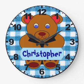Personalized (ANY NAME) Teddy Bear Clock w/Numbers