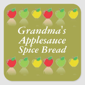Personalized Applesauce Spice Bread Canning Label Square Sticker